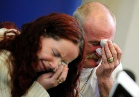 File photo dated 16/5/2012 of Mick Philpott and wife Mairead speak to the media at Derby Conference Centre, Derby following a fire at their home last week which claimed the lives of six of his children. The pair were today found guilty of manslaughter at Nottingham Crown Court over the house fire in Derby which killed the children.  PRESS ASSOCIATION Photo. Issue date: Tuesday April 2, 2013. See PA story COURTS Fire. Photo credit should read: Rui Vieira/PA Wire